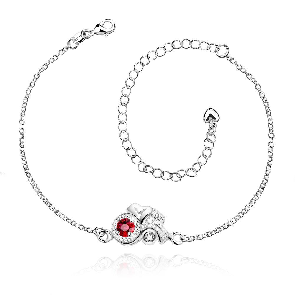 Vienna Jewelry Ruby Red Blossoming Gem Petite Anklet