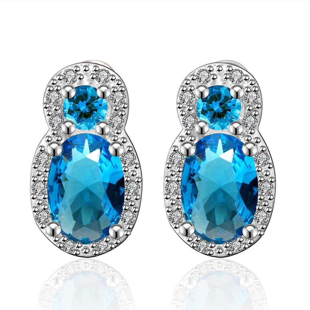 Vienna Jewelry Mock Double Sapphire Gem with Jewels Covering Earrings