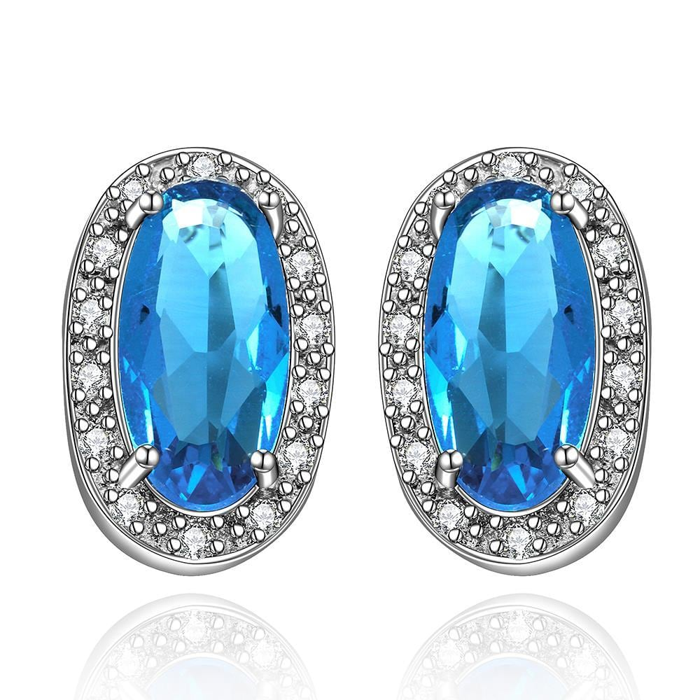 Vienna Jewelry Mock Sapphire Gem Covered with Jewels Earrings