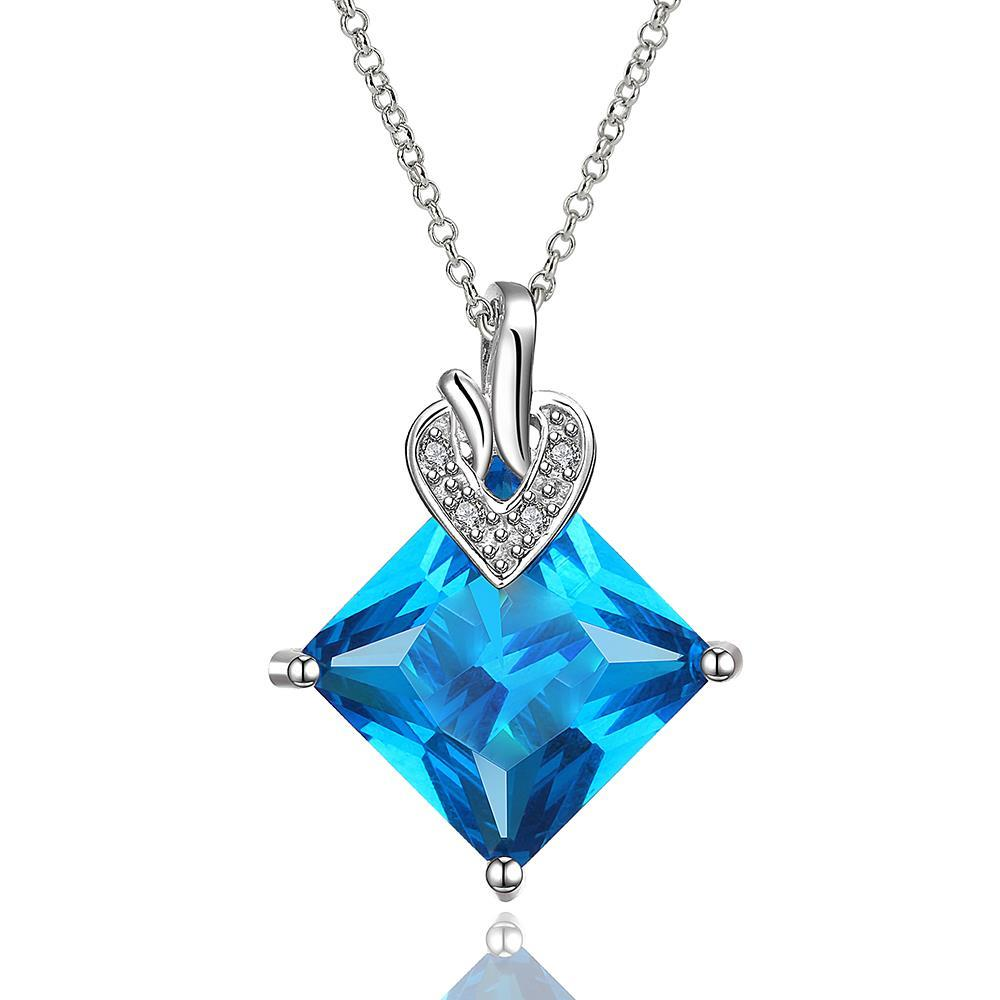 Vienna Jewelry Mock Sapphire Diamond Shaped Classic Necklace