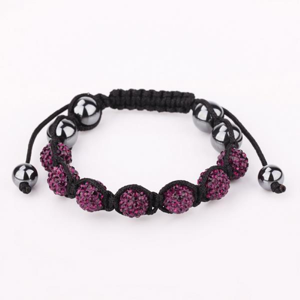 Vienna Jewelry Hand Made Six Stone Swarovksi Elements Bracelet- Dark Lavender
