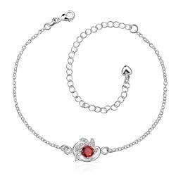 Vienna Jewelry Ruby Red Gem Spiral Emblem Petite Anklet