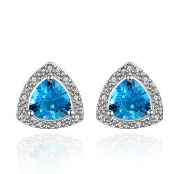 Vienna Jewelry Mock Saphire Triangular Shaped Earrings Coverd with Jewels - Thumbnail 0