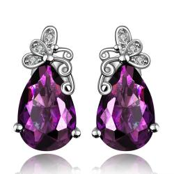 Vienna Jewelry Purple Citrine Butterfly Overlayering Earrings - Thumbnail 0
