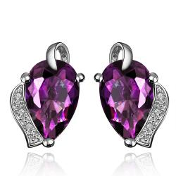 Vienna Jewelry Purple Citrine Gem with Crystal Drop Earrings - Thumbnail 0