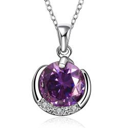 Vienna Jewelry Purple Citrine Crescent Shaped Drop Necklace - Thumbnail 0