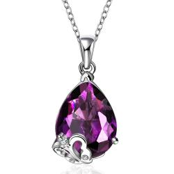 Vienna Jewelry Purple Citrine Gem Hollow Heart Inlay Necklace - Thumbnail 0