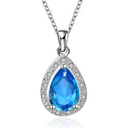 Vienna Jewelry Mock Sapphire Gem Jewels Covering Necklace - Thumbnail 0