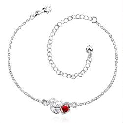 Vienna Jewelry Ruby Red Orchid Emblem Petite Anklet - Thumbnail 0