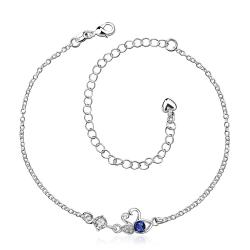 Vienna Jewelry Sapphire Mini Butterfly Classic Anklet