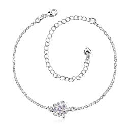Vienna Jewelry Purple Citrine Orchid Petite Anklet - Thumbnail 0