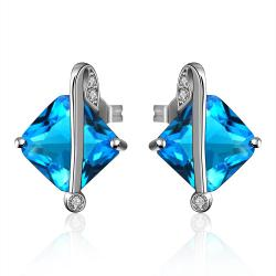 Vienna Jewelry Mock Sapphire Diamond Shaped Classic Earrings - Thumbnail 0