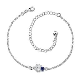 Vienna Jewelry Grape Vine Mock Sapphire Petite Anklet
