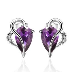 Vienna Jewelry Half Heart Curved Purple Citrine Earrings - Thumbnail 0