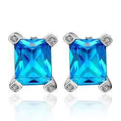 Vienna Jewelry Sapphire Gem New York Inspired Stud Earrings - Thumbnail 0