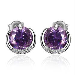 Vienna Jewelry Purple Citrine Jewels Layering Stud Earrings - Thumbnail 0