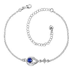 Vienna Jewelry Saphire Gem Diamond Shaped Insert Petite Anklet - Thumbnail 0