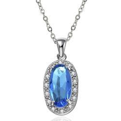 Vienna Jewelry Mock Sapphire Gem Drop Down Jewels Insert Necklace - Thumbnail 0