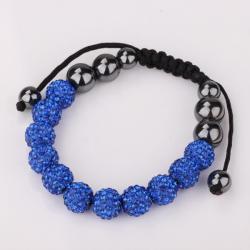 Vienna Jewelry Hand Made Eleven Stone Swarovksi Elements Bracelet- Vivid Light Saphire - Thumbnail 0