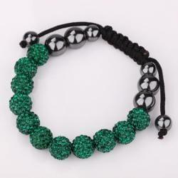 Vienna Jewelry Hand Made Eleven Stone Swarovksi Elements Bracelet- Vivid Dark Emerald - Thumbnail 0