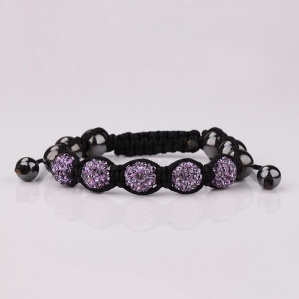 Vienna Jewelry Hand Made Five Stone Swarovksi Elements Bracelet-Lavender