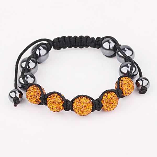 Vienna Jewelry Hand Made Five Stone Swarovksi Elements Bracelet- Orange Citrine