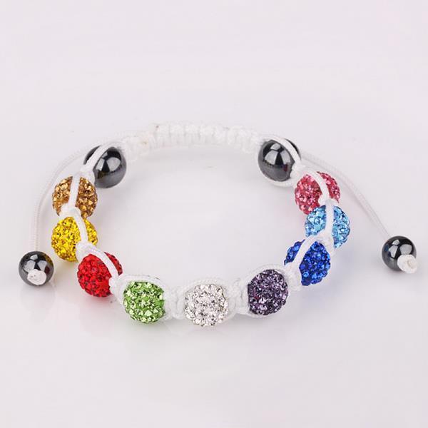 Vienna Jewelry White Hand Made Bracelet Rainbow Beads