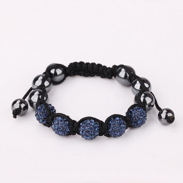 Vienna Jewelry Hand Made Five Stone Swarovksi Elements Bracelet-Dark Saphire