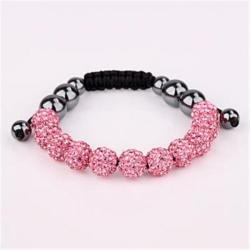 Vienna Jewelry Hand Made Eleven Stone Swarovksi Elements Bracelet- Vivid Light Coral - Thumbnail 0