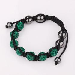 Vienna Jewelry Hand Made Six Stone Swarovksi Elements Bracelet- Dark Emerald - Thumbnail 0