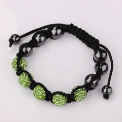 Vienna Jewelry Hand Made Five Stone Swarovksi Elements Bracelet-Light Emerald - Thumbnail 0
