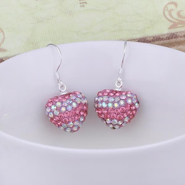 Vienna Jewelry Swarovksi Element Pave Heart Drop Earrings- Vivid Sharp Coral