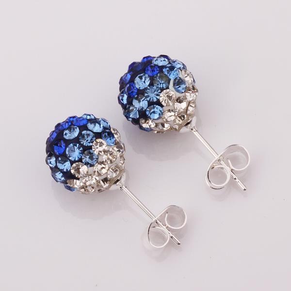 Vienna Jewelry Two Toned Swarovksi Element Stud Earrings- Dark Saphire
