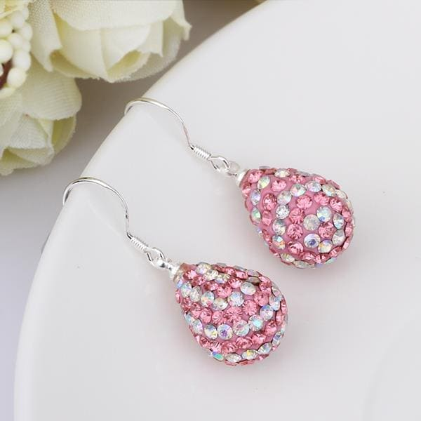 Vienna Jewelry Two Toned Swarovksi Element Pear Shaped Drop Earrings-Light Coral