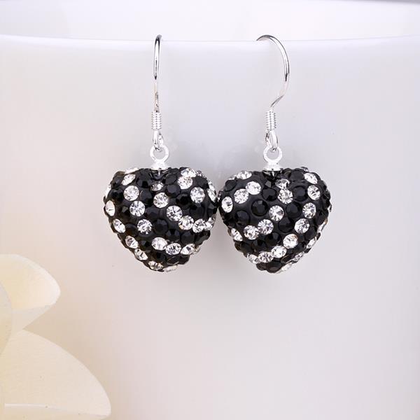 Vienna Jewelry Two Toned Swarovksi Element Hearts Drop Earrings-Onyx