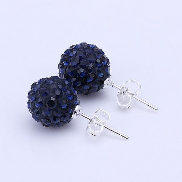 Vienna Jewelry Vivid Dark Swarovksi Element Saphire Stud Earrings