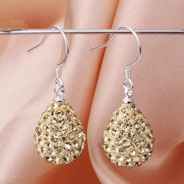Vienna Jewelry Pear Shaped Solid Swarovksi Element Drop Earrings- Bright Champagne