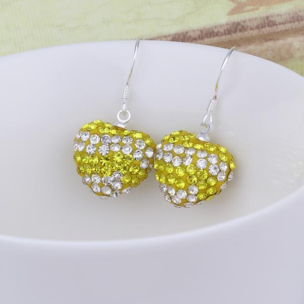 Vienna Jewelry Swarovksi Element Pave Heart Drop Earrings- Yellow Citrine