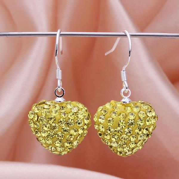 Vienna Jewelry Heart Shaped Solid Swarovksi Element Drop Earrings- Bright Yellow Citrine