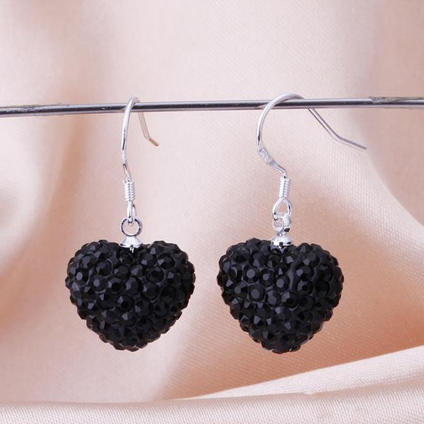 Vienna Jewelry Heart Shaped Solid Swarovksi Element Drop Earrings- Onyx