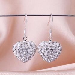 Vienna Jewelry Heart Shaped Solid Swarovksi Element Drop Earrings- Crystal - Thumbnail 0