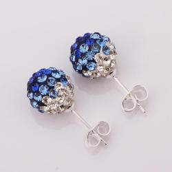 Vienna Jewelry Two Toned Swarovksi Element Stud Earrings- Dark Saphire - Thumbnail 0