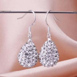 Vienna Jewelry Pear Shaped Solid Swarovksi Element Drop Earrings- Crystal - Thumbnail 0