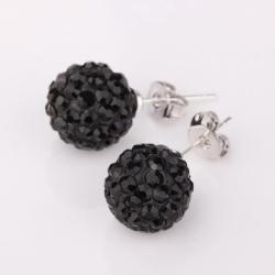 Vienna Jewelry Vivid Dark Onyx Swarovksi Element Crystal Stud Earrings - Thumbnail 0