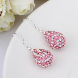 Vienna Jewelry Two Toned Swarovksi Element Pear Shaped Drop Earrings-Light Coral - Thumbnail 0