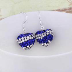 Vienna Jewelry Swarovksi Element Pave Heart Drop Earrings- Royal Bright Blue - Thumbnail 0