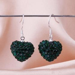 Vienna Jewelry Heart Shaped Solid Swarovksi Element Drop Earrings- Dark Emerald - Thumbnail 0
