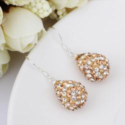 Vienna Jewelry Two Toned Swarovksi Element Pear Shaped Drop Earrings-Royal Champagne - Thumbnail 0