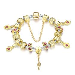 Vienna Jewelry Golden Ruby Bracelet - Thumbnail 0
