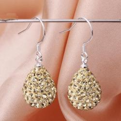 Vienna Jewelry Pear Shaped Solid Swarovksi Element Drop Earrings- Bright Champagne - Thumbnail 0